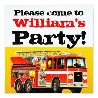 Kid's Fire Truck 4th Birthday Party 13 Cm X 13 Cm Square Invitation Card