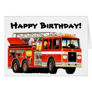 Kid's Fire Truck Birthday Greeting Card