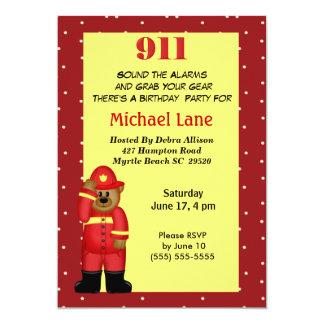 Kids Fireman  Birthday Invitation