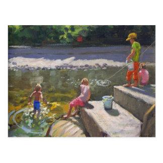 Kids fishing Looe Cornwall 2014 Postcard