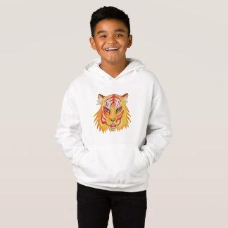 Kids' Fleece Pullover Hoodie Tiger Drawing