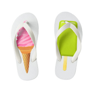 Kids Flip Flops - Pink Ice Cream + Green Ice Lolly
