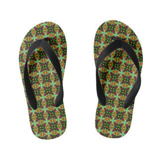 Kids Flip-flops with Kaleidoscope Design in green Thongs
