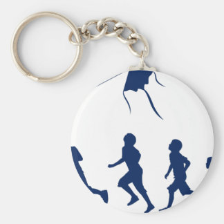 Kids flying a kite. basic round button key ring
