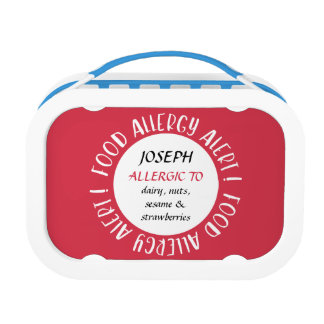 Kids Food Allergy Alert Personalized Red Lunch Boxes