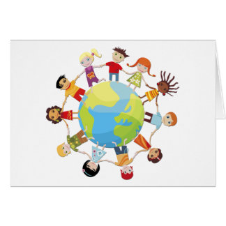 Kids for world peace greeting card