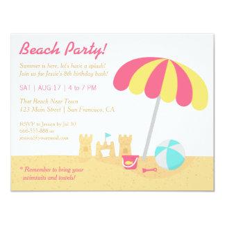 Kids Fun Sandcastles Beach Birthday Party Card
