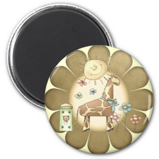 Kids Giraffe T Shirts and Gifts 6 Cm Round Magnet