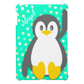 Kids girls penguin name aqua ipad mini case