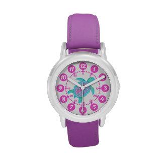 Kids girls pink & white turtle hearts wrist watch wristwatch