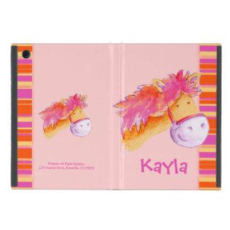 Kids girls pony pink art name ipad case