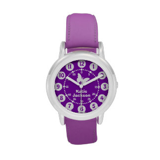 Kids girls purple & white full name wrist watch