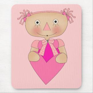 Kid's Girls Ragdoll Heart Mouse Pad