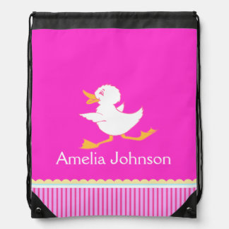 Kids girls sports swim pink name drawstring bag