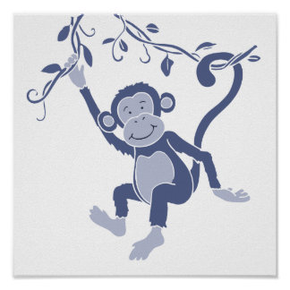 Kids graphic blue monkey poster