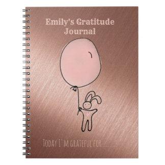Kids Gratitude Journal Personalized Rose Gold Pink