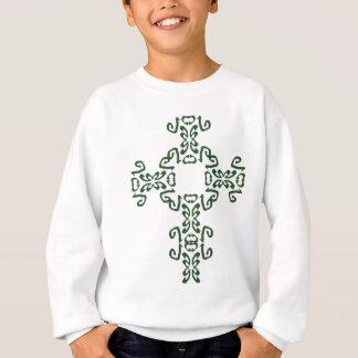 Kids Green Irish Celtic Cross Hoodie Sweatshirt