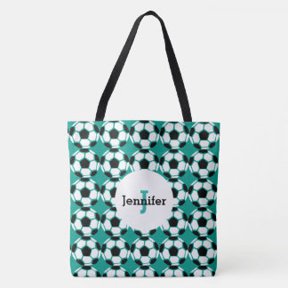 Kids Green Soccer Ball Pattern Personalized Trendy Tote Bag