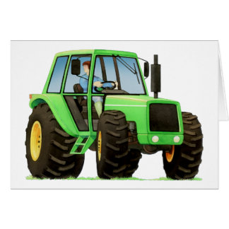 Kid's Green Tractor Greeting Card