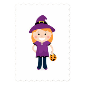 Kids greeting with Little witch Card