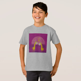 Kids grey tshirt with 2 love giraffes