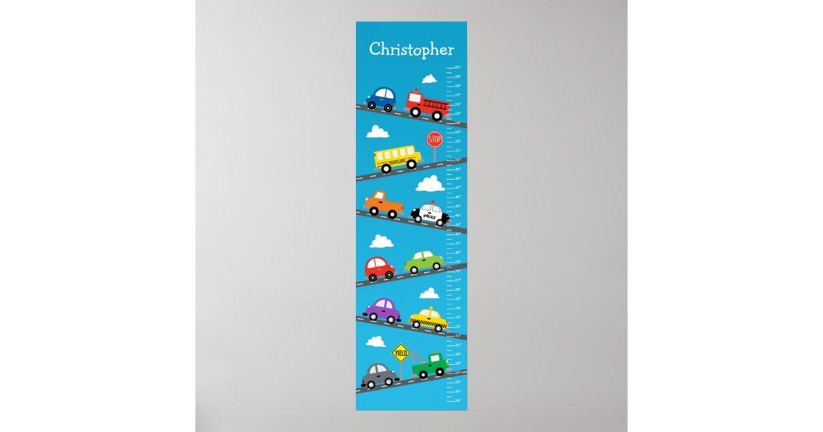 Kids Growth Chart - Cars and Trucks | Zazzle.com.au