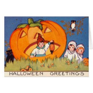 Kids Halloween, Big Pumpkin, Old Fashion, Hallows Card