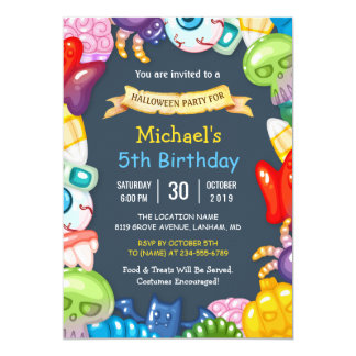 Kids Halloween Birthday Party Colorful Monsters Card