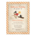 Kids Halloween Birthday Party Cute Witch Broom Cat 13 Cm X 18 Cm Invitation Card
