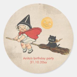 Kids Halloween Birthday Party Cute Witch Broom Cat Round Sticker
