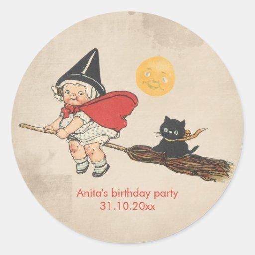 Kids Halloween Birthday Party Cute Witch Broom Cat Sticker