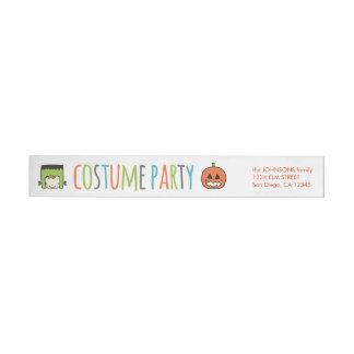 Kids Halloween Costume Party Invitation Wraparound Return Address Label