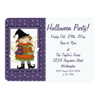 Kid's Halloween Party Invite Little Boo Witch 2