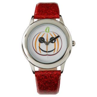 Kids Halloween Pumpkin Custom Red Glitter Watch
