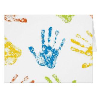 Kids Handprints in Paint Card