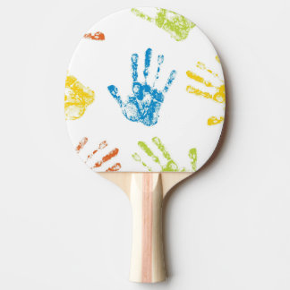Kids Handprints in Paint Ping Pong Paddle