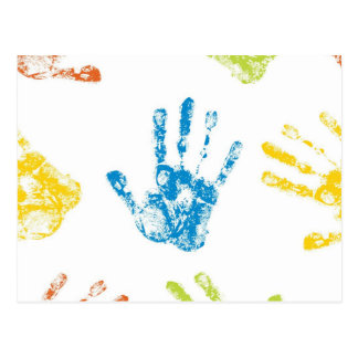 Kids Handprints in Paint Postcard