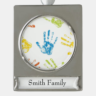 Kids Handprints in Paint Silver Plated Banner Ornament