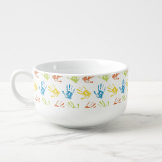 Kids Handprints in Paint Soup Mug