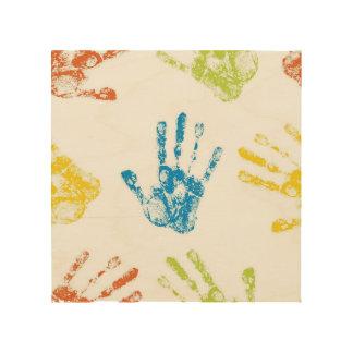 Kids Handprints in Paint Wood Print