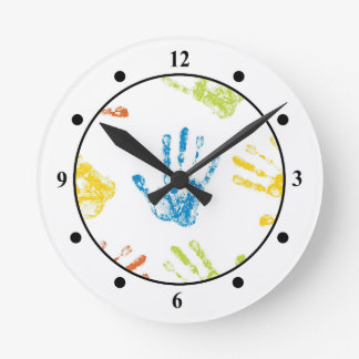 Kids Handprints Round Clock