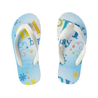 Kids Happy B-Day pattern flip flops