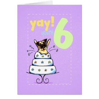 Kids Happy Birthday Age 6 Cake Pug Greeting Card
