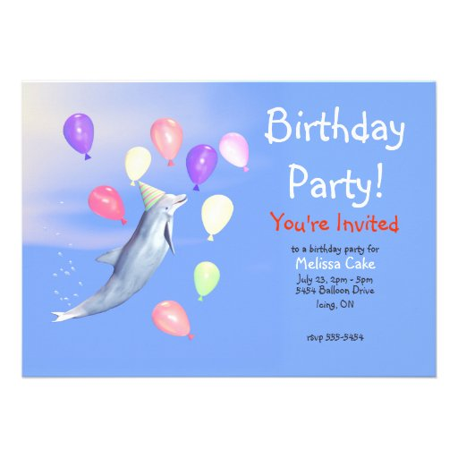 Kids Happy Birthday Party Dolphin Custom Invites
