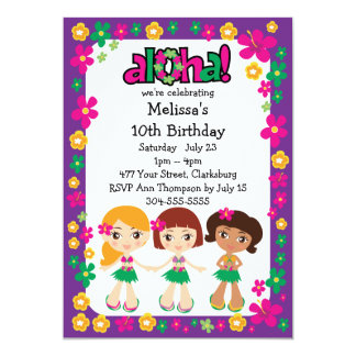Kids Hawaiian Luau 13 Cm X 18 Cm Invitation Card