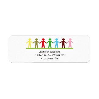 Kids Holding Hands Colorful Children United Return Address Label