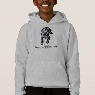 Kid's hooded sweatshirt black lab puppy