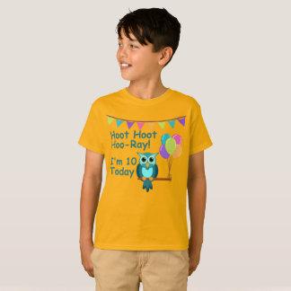 Kids Hoot Hoot Hoo-Ray I'm 10 Today Owl T-Shirt