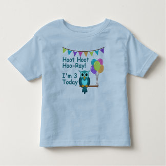Kids Hoot Hoot Hoo-Ray I'm 3 Today Owl T-Shirt