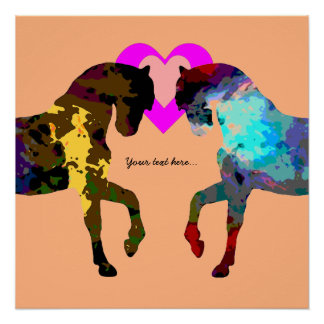 Kids Horse and Hearts Poster